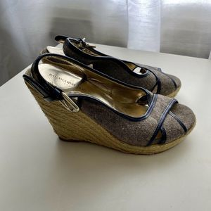Banana Republic Womens Size 6 Navy Canvas Wedges